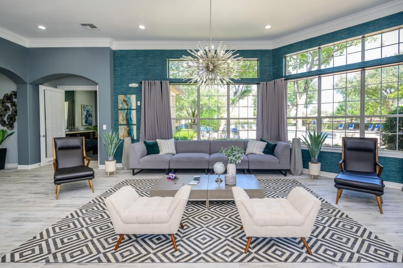 Clubhouse with amenities poolside at The View at Lakeside in Lewisville, Texas