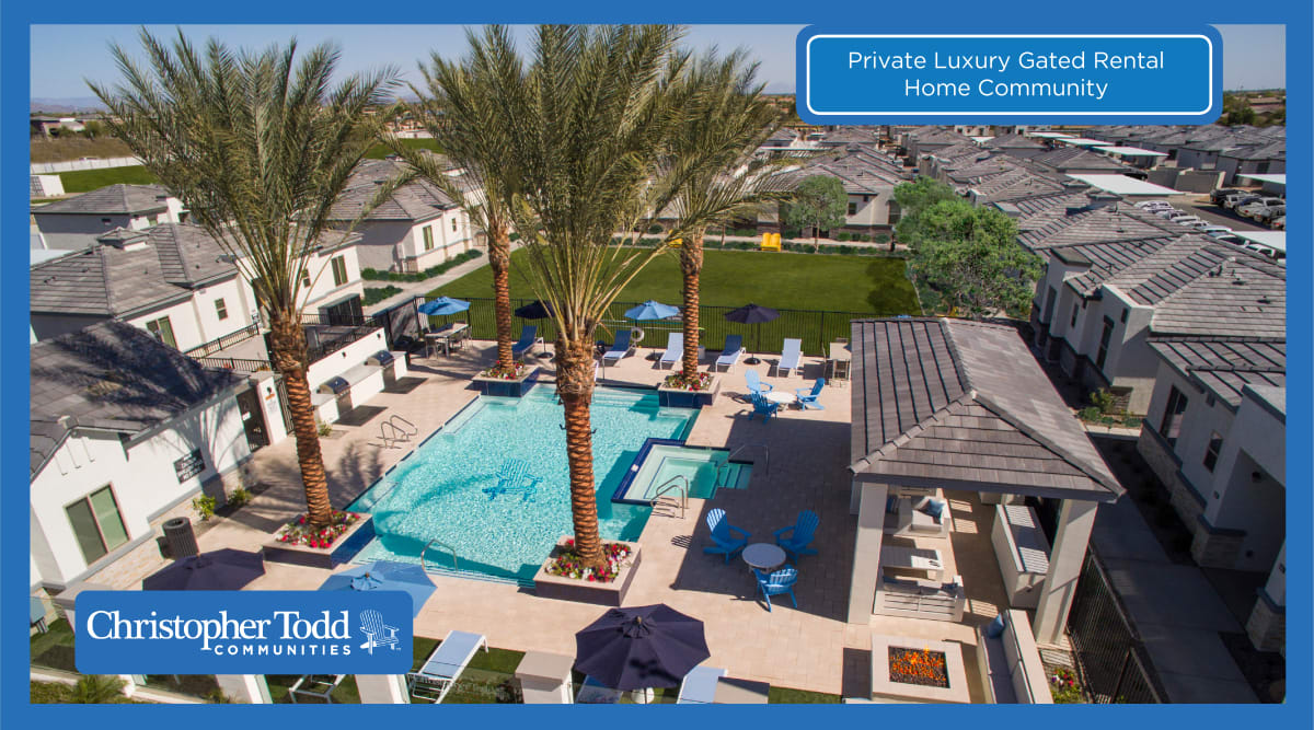 Beautiful resort style pool at Christopher Todd Communities On Camelback in Litchfield Park, Arizona