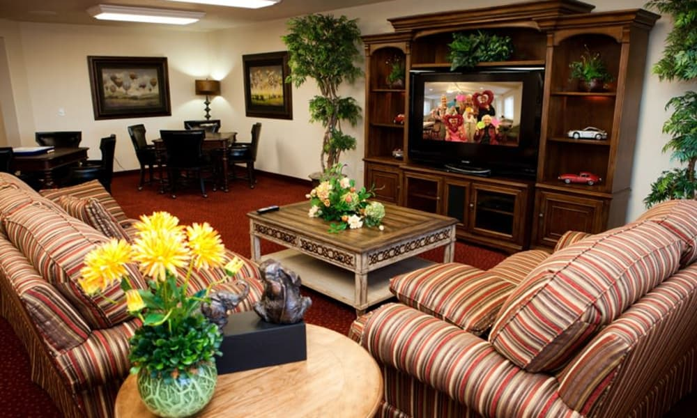Community entertainment room at Carolina Estates in Greensboro, North Carolina