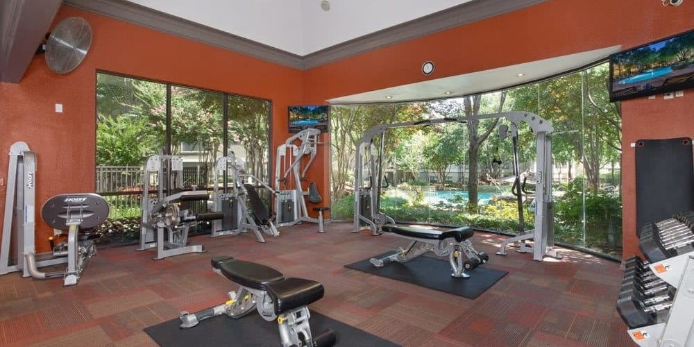Fitness center at The Verandas at Timberglen in Dallas, Texas