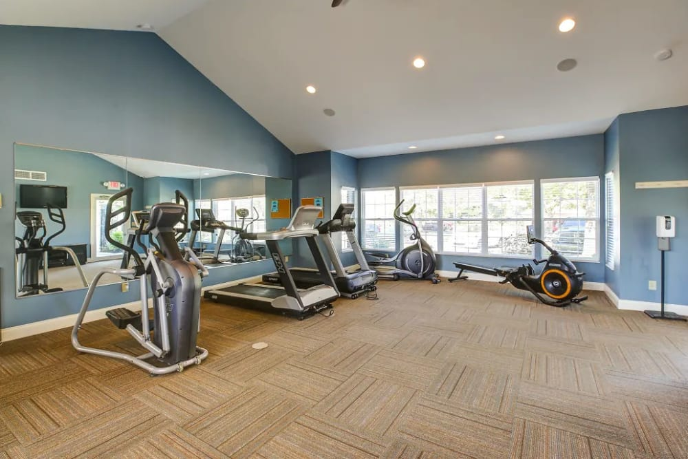 The 24-hour fitness room at Charleston Pines Apartment Homes in Florence, Kentucky