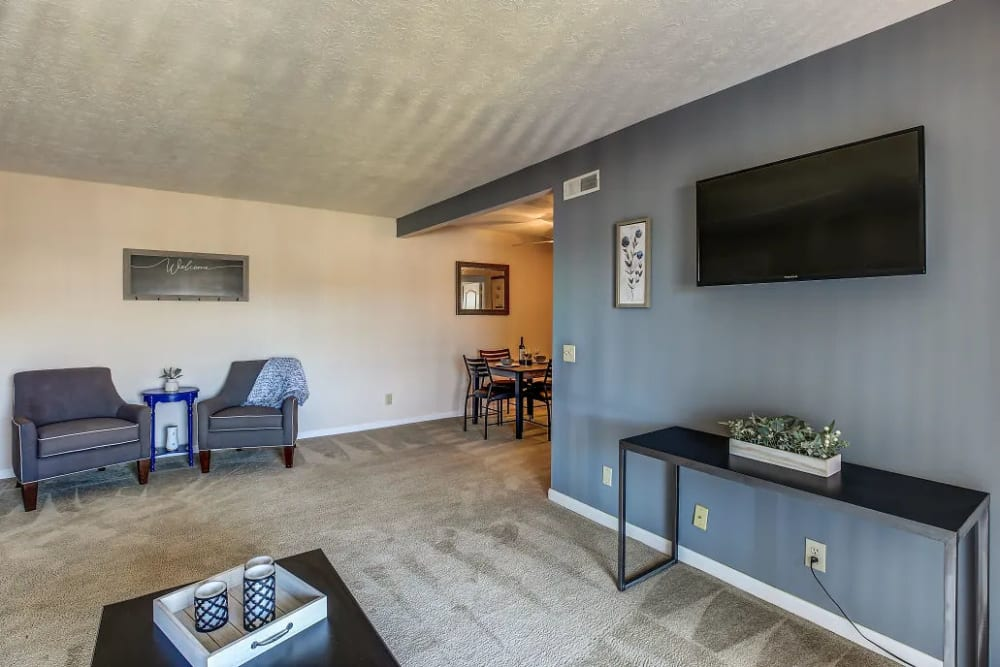 A comfortable living room at Reserve at Ft. Mitchell Apartments in Ft. Mitchell, Kentucky