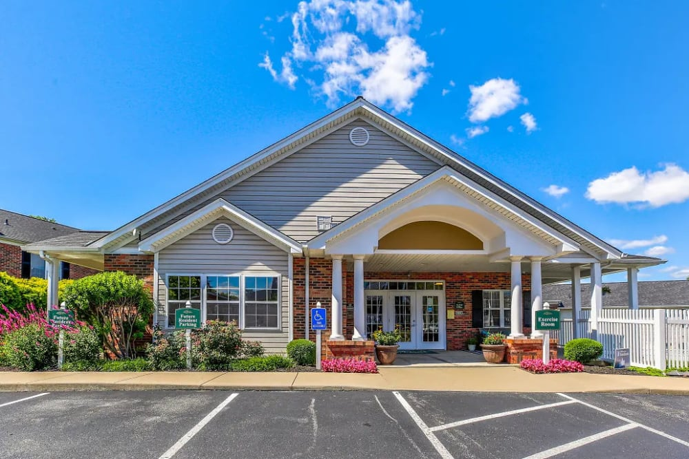 Outside the clubhouse at Reserve at Ft. Mitchell Apartments in Ft. Mitchell, Kentucky