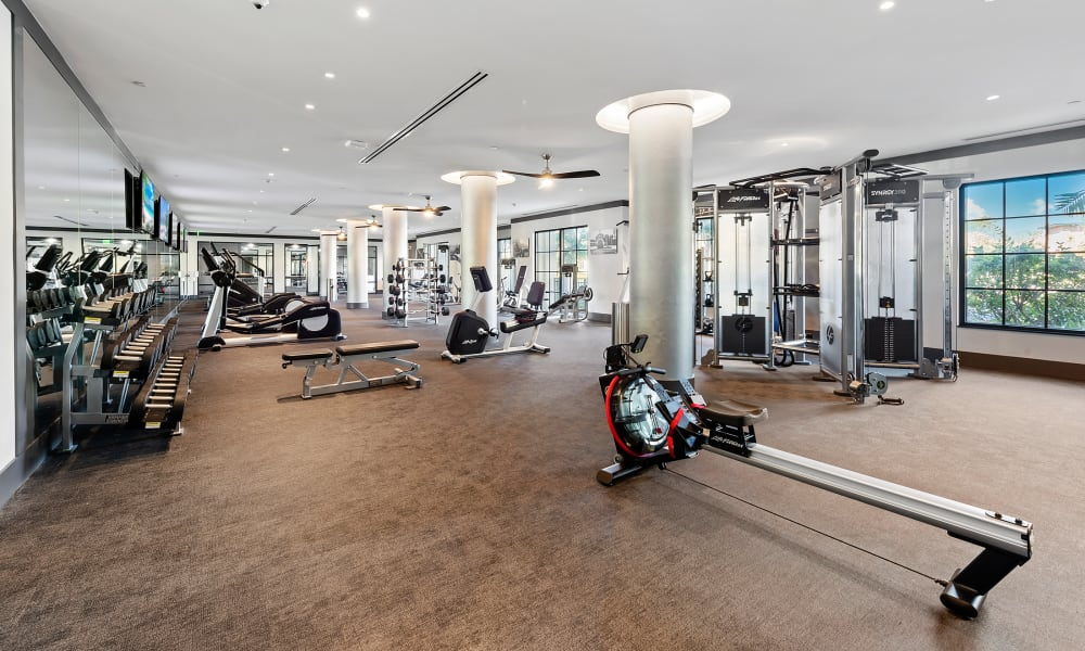 Full sized fitness center for residents to workout in at 6600 Main in Miami Lakes, Florida