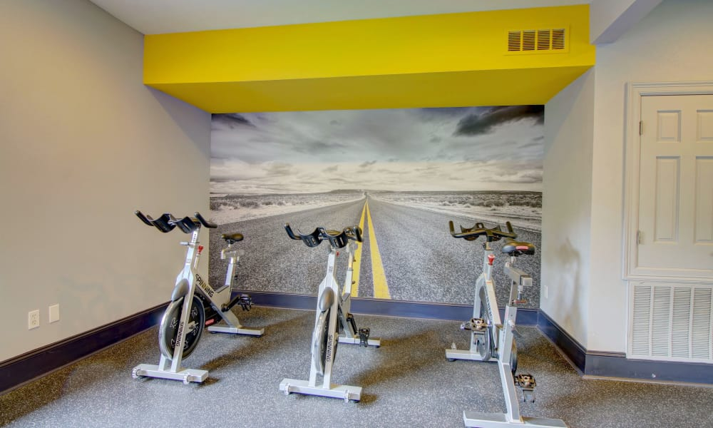 Spin bike from fitness center at The Park at Research Forest