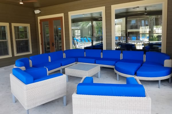 Back porch with furniture at Azul Apartment Homes in San Antonio, Texas