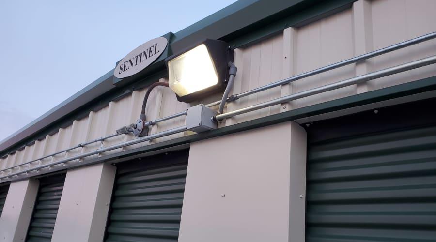 Flood lights keep watch at KO Storage of Willmar in Willmar, Minnesota