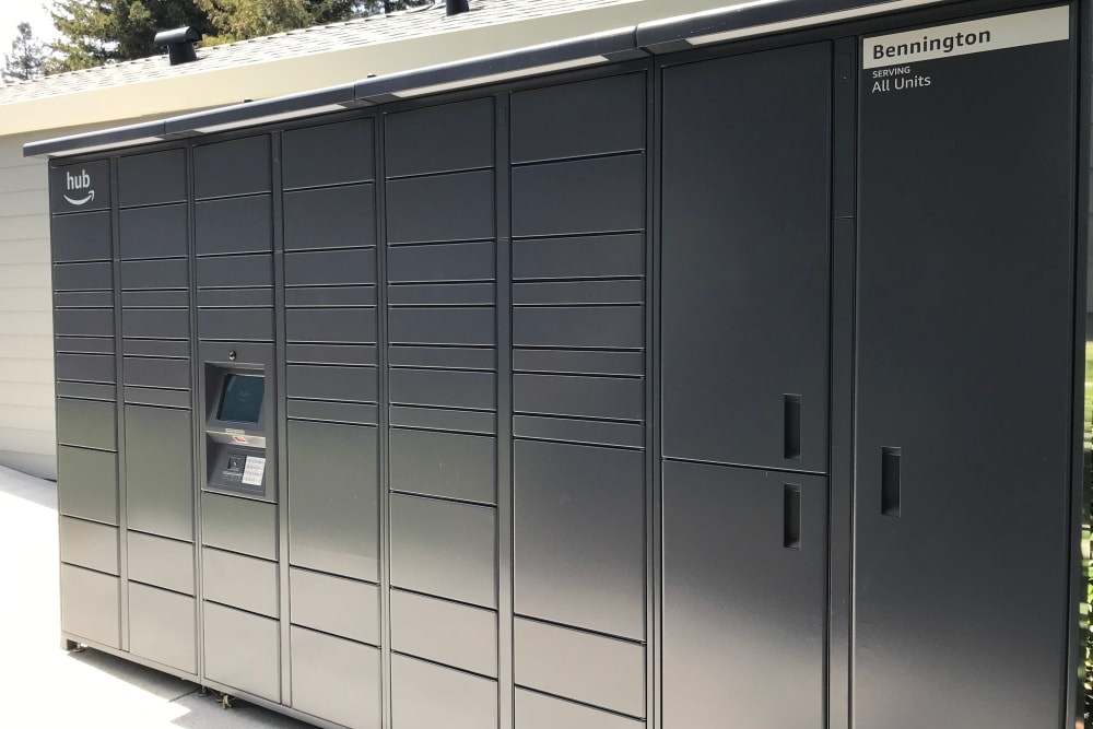 Package lockers with Amazon HUB at Bennington Apartments in Fairfield, California