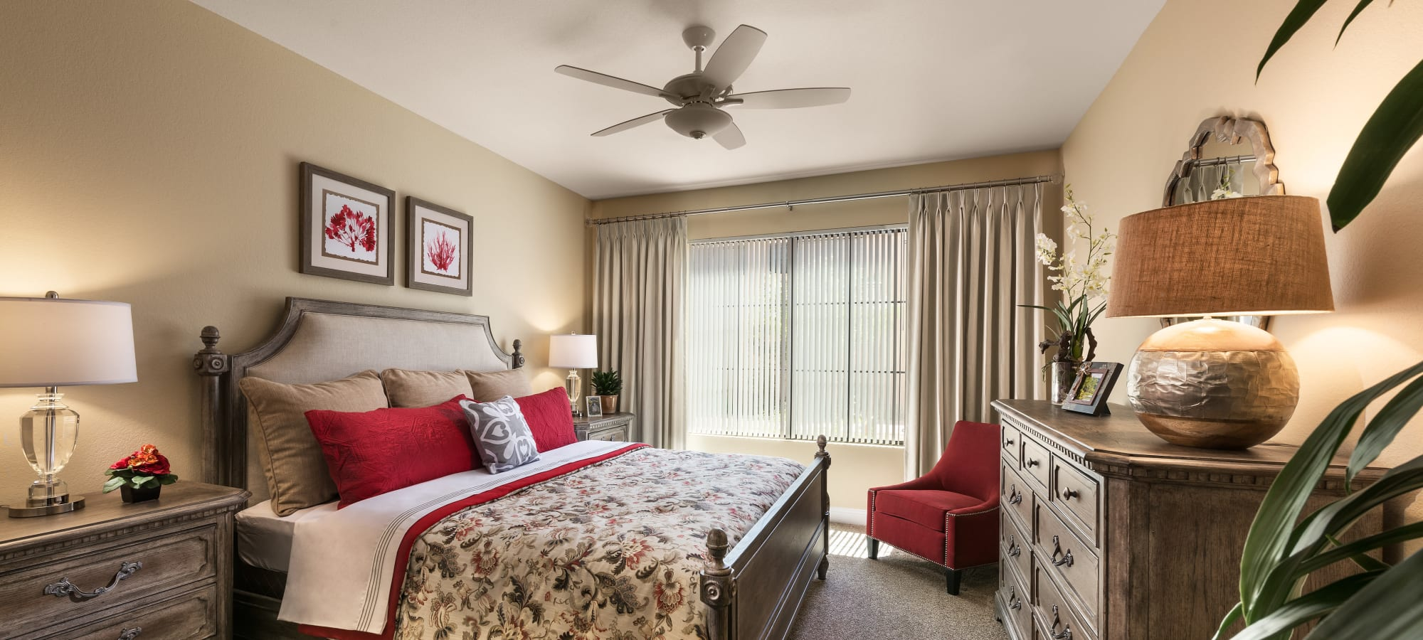 Beautiful bedroom with ceiling fan at San Portales in Scottsdale, Arizona