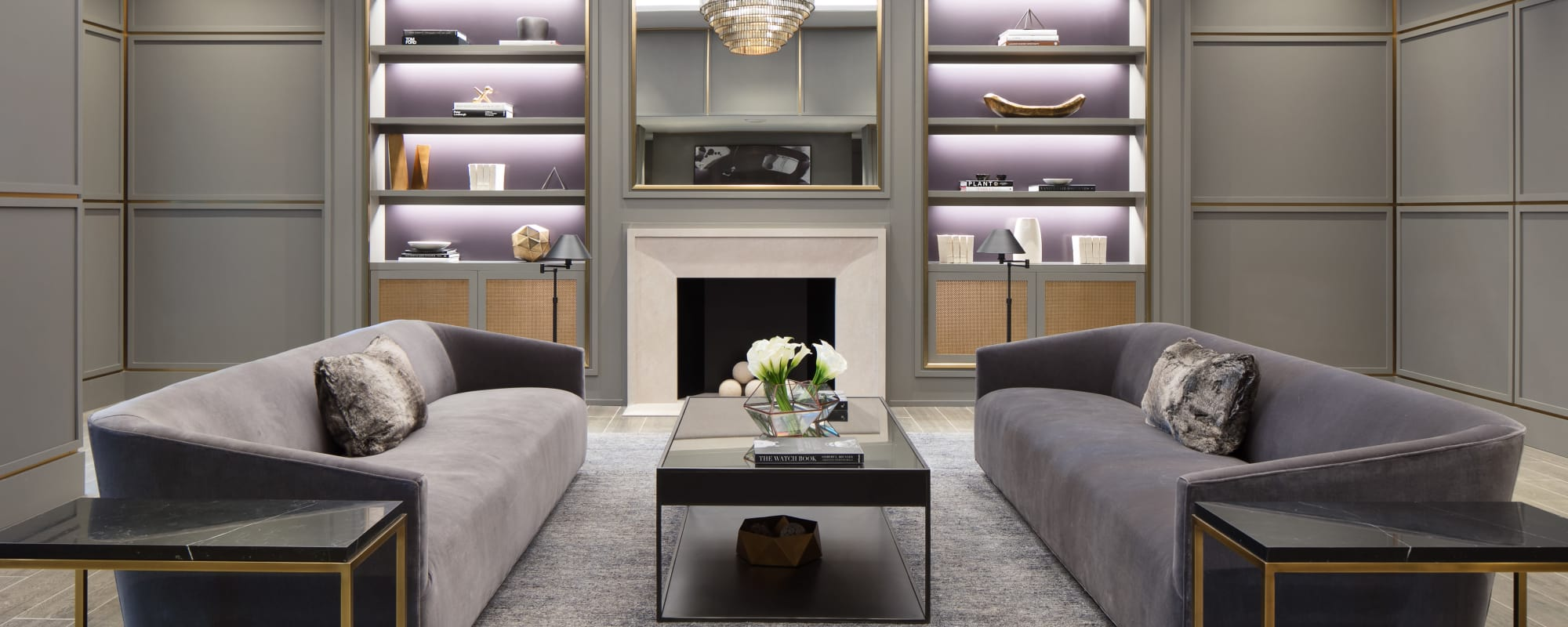 Front lobby seating and fireplace at Trump Bay Street in Jersey City, New Jersey