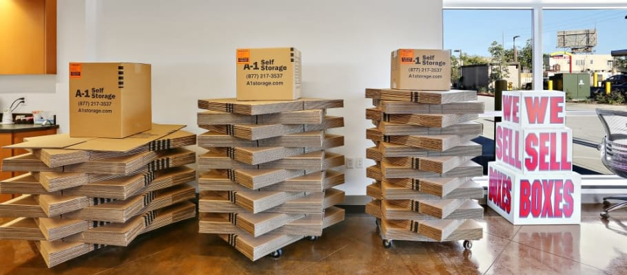 Variety of box sizes available at  at A-1 Self Storage in San Diego, California