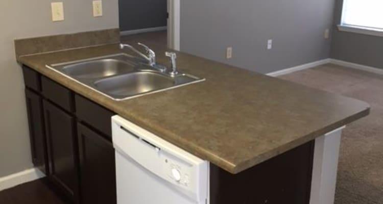 Kitchen counter at Harbin Pointe Apartments in Bentonville, Arkansas