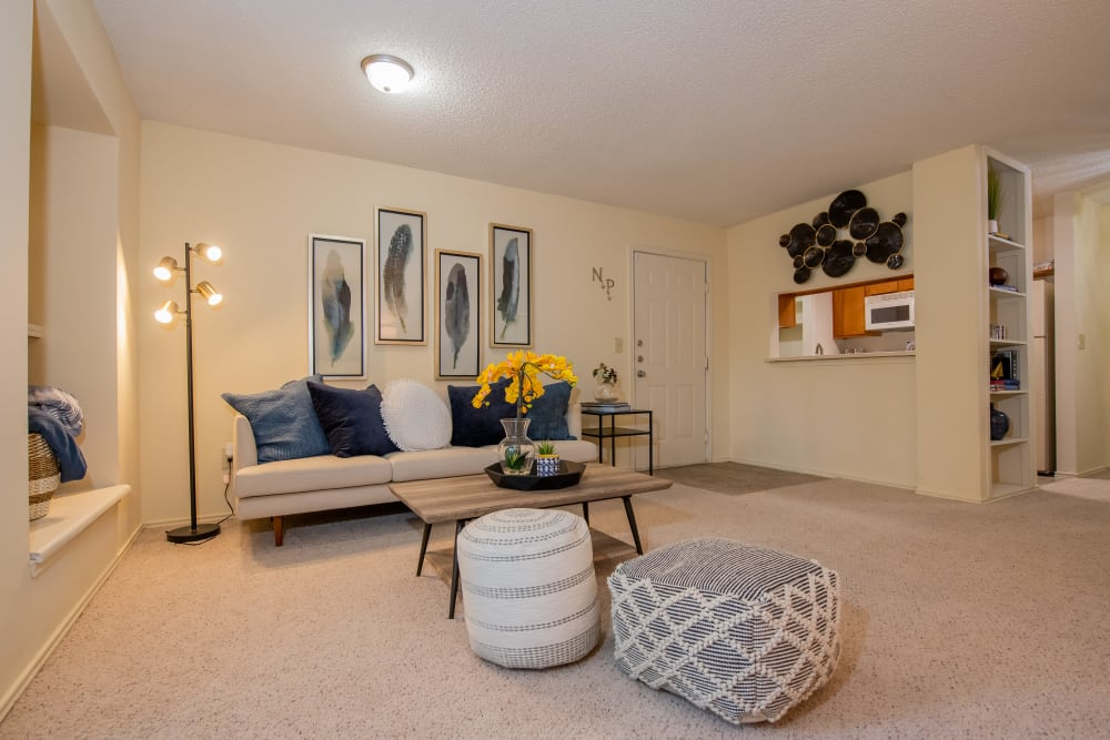 Cozy living room at Newport Apartments in Amarillo, Texas