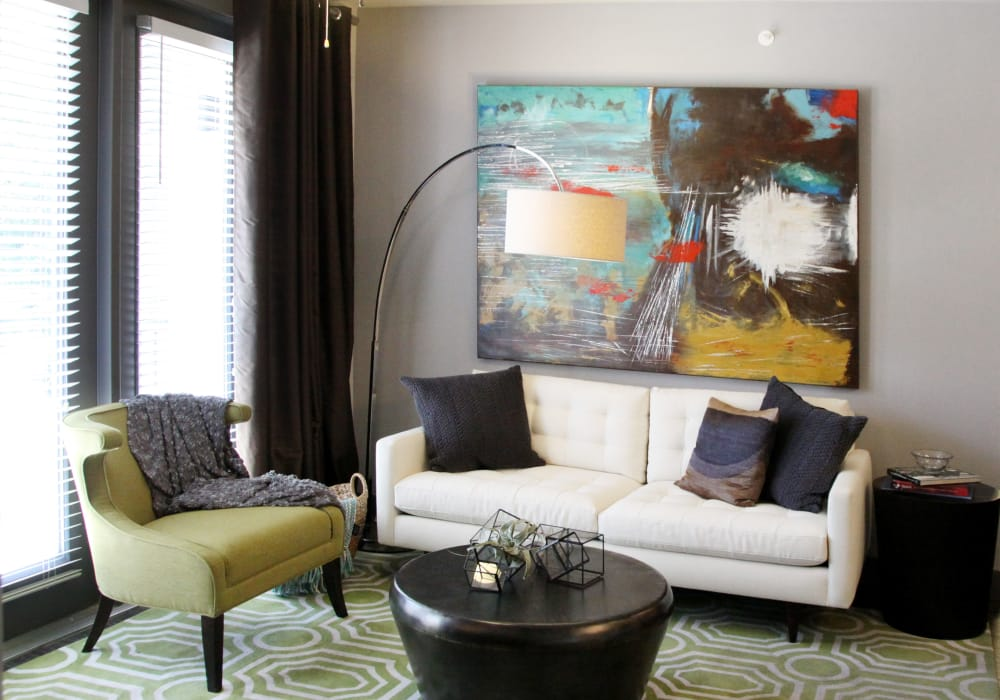 Enjoy a luxury living room at Axis at Wycliff in Dallas, Texas
