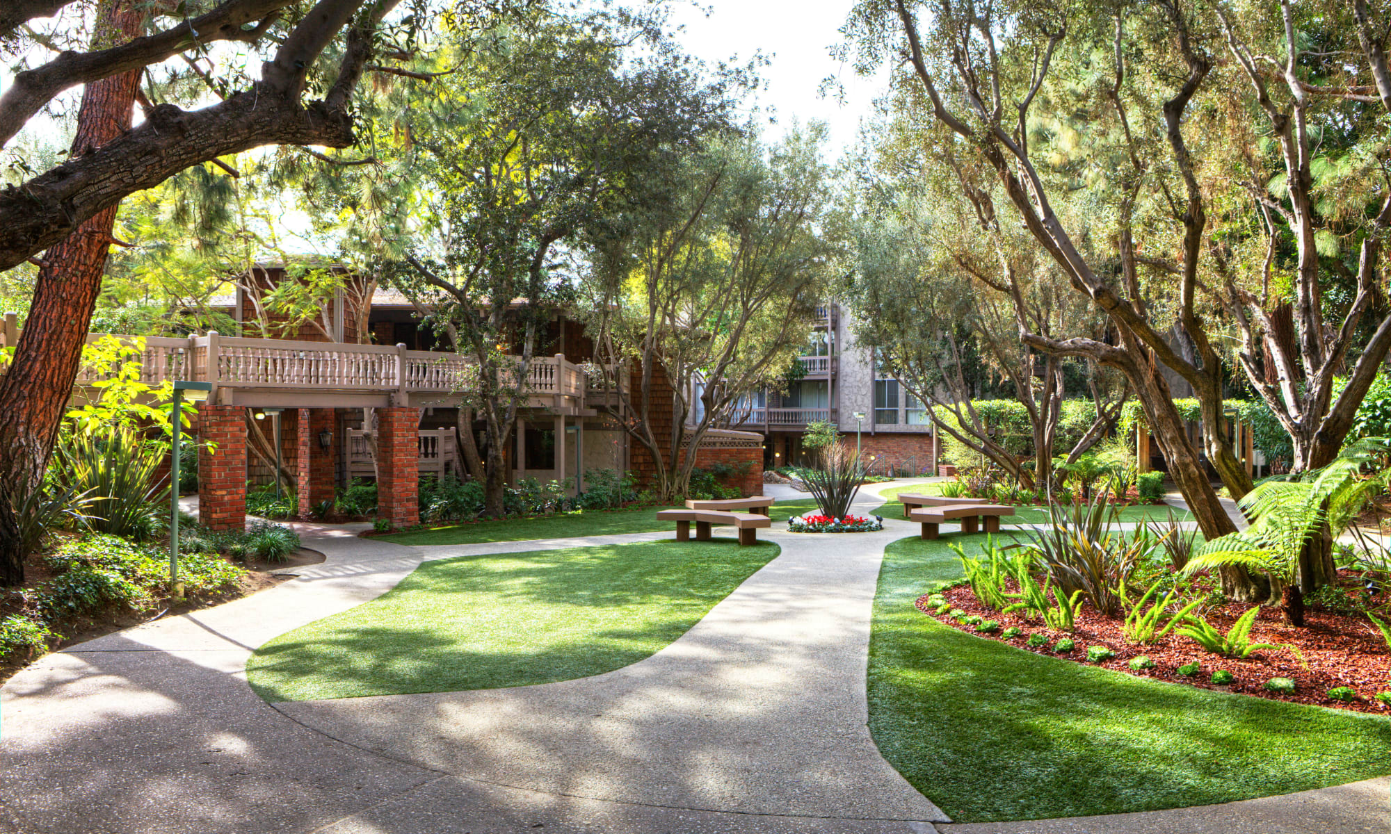 Professionally maintained landscaping around the community at The Meadows in Culver City, California