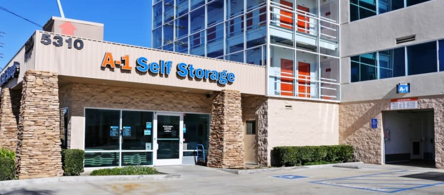 The front entrance of A-1 Self Storage in North Hollywood, California
