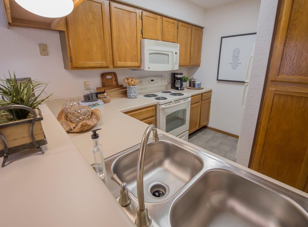 Kitchen at Warrington Apartments in Oklahoma City, Oklahoma