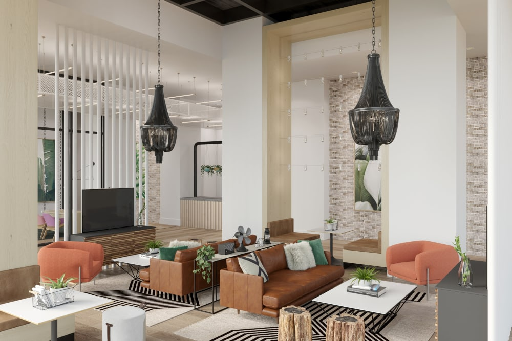 Modern lobby at Yard 8 Midtown in Midtown Miami, Florida