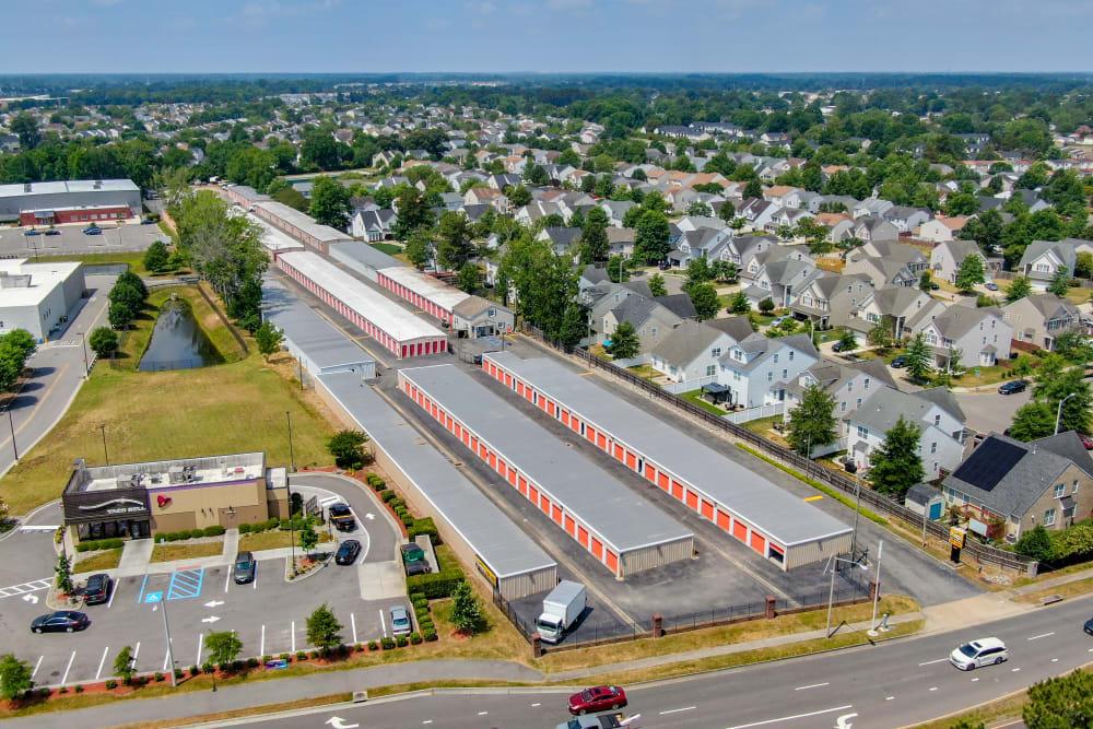 An aerial view of SecurityPlus Self Storage in Virginia Beach, Virginia