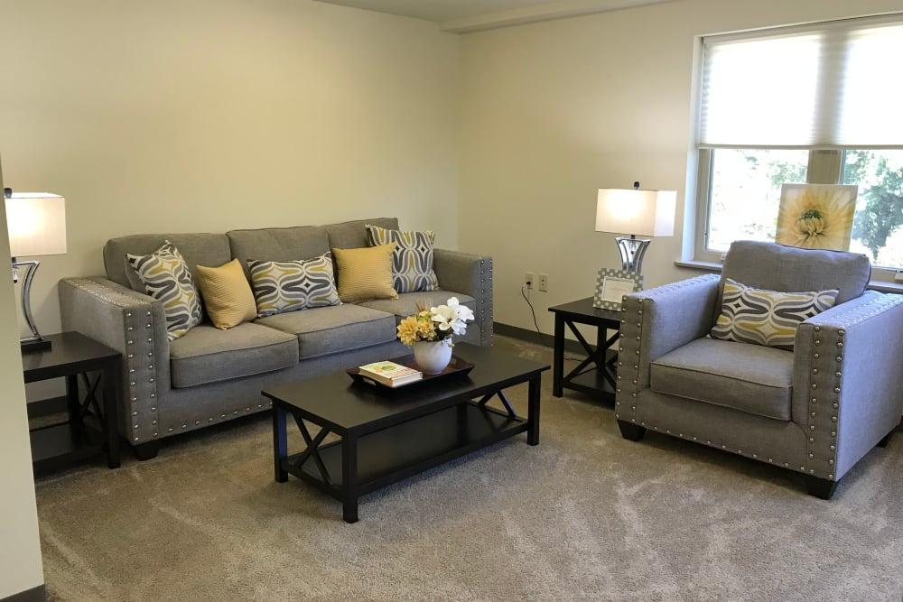 Spacious living room at Prairie Hills Cedar Rapids in Cedar Rapids, Iowa.