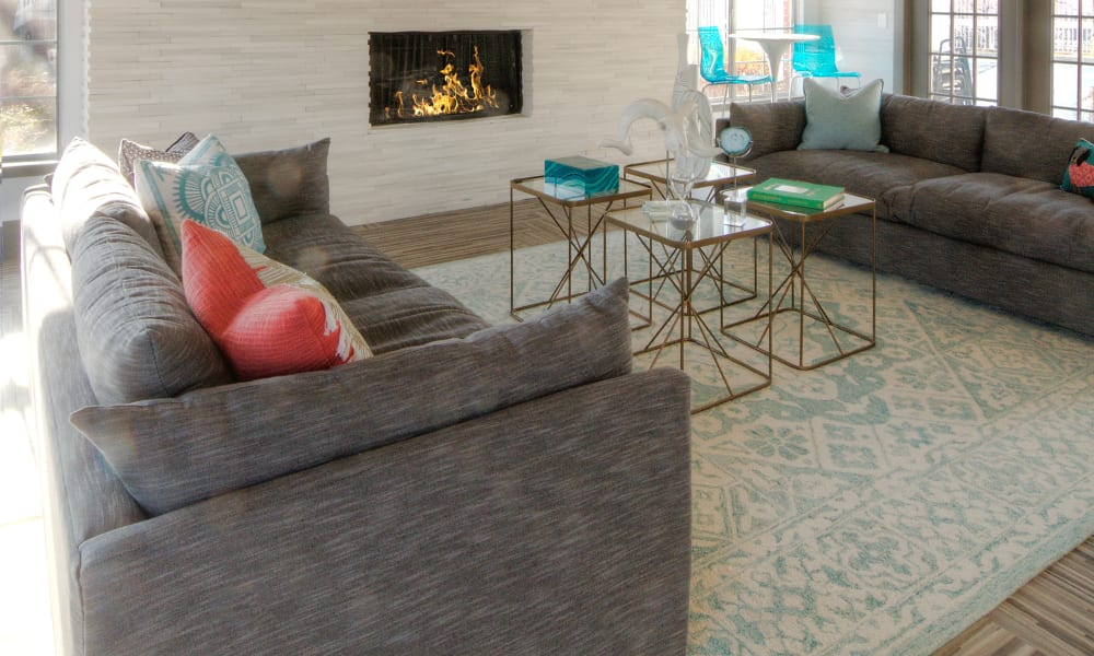 Clubhouse Lounge Area with Fireplace at Windgate Apartments in Bountiful, Utah