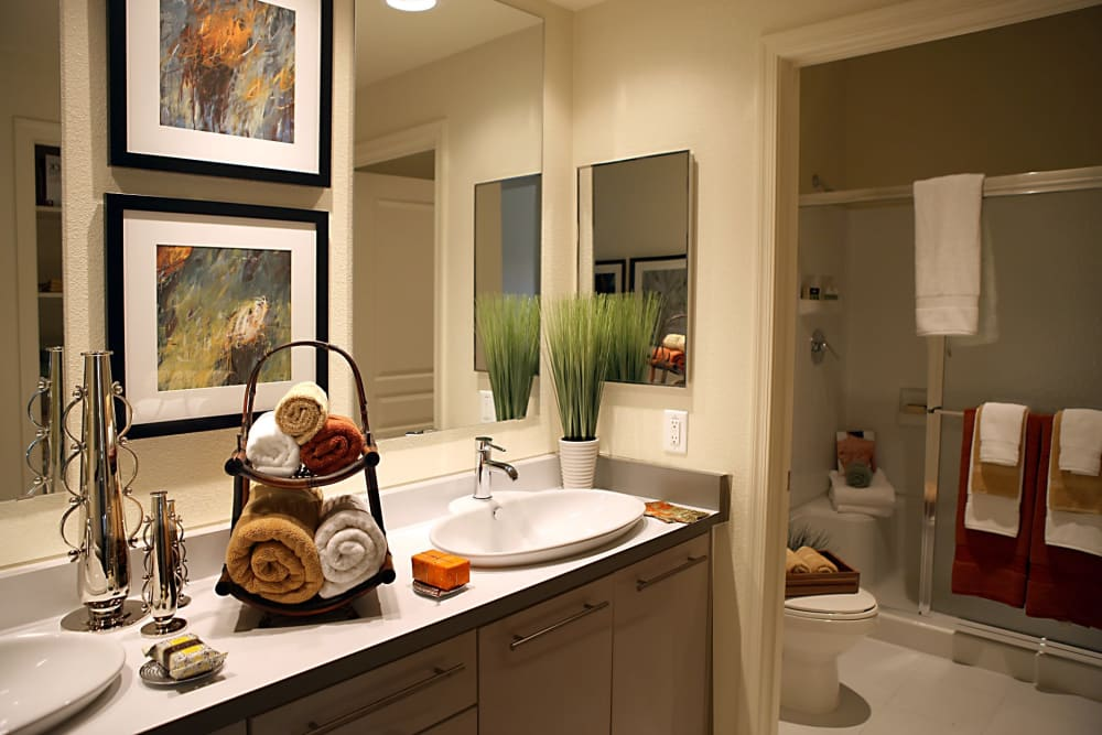 Master bathroom layout at Sage Luxury Apartment Homes in Phoenix, Arizona