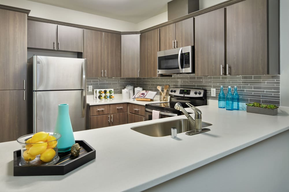 Kitchen with wood-style flooring and stainless steel appliances at Brookside Village in Auburn, Washington