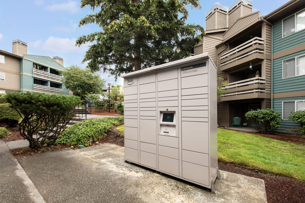 Package lockers for your convenience at Latitude Apartments in Everett, Washington