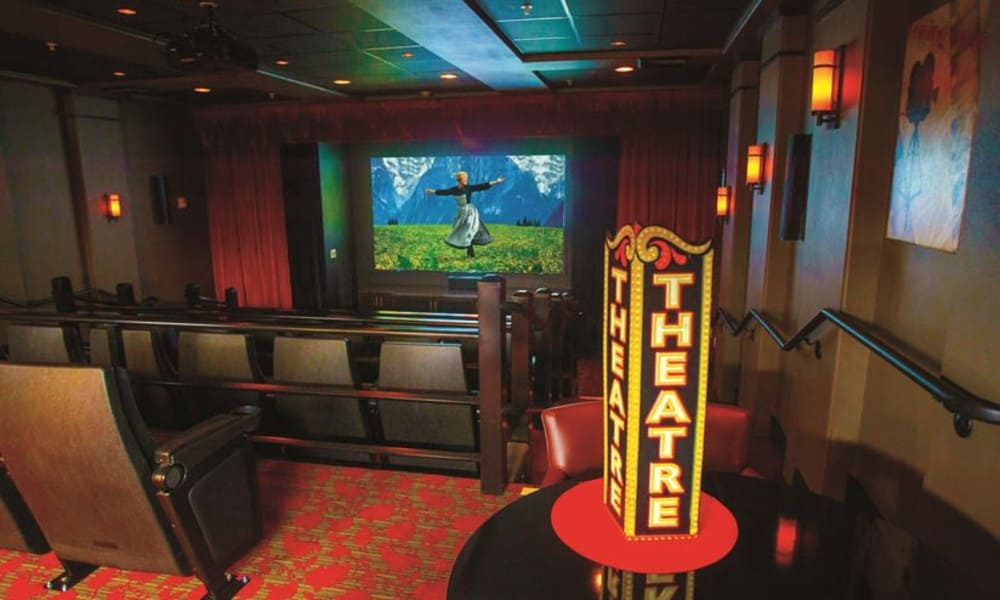 Onsite movie theater at Camden Springs Gracious Retirement Living in Elk Grove, California
