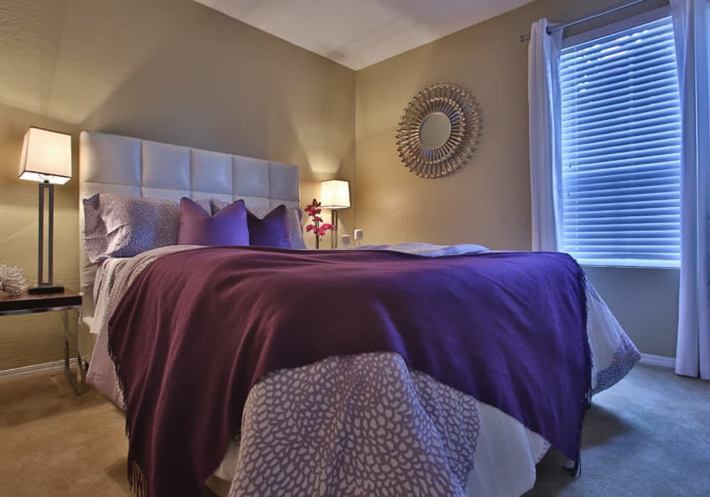 Master bedroom at Willowick Apartments in College Station, Texas