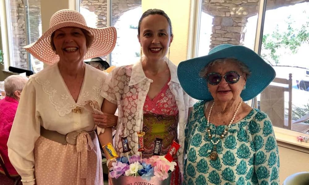 Three resident from Salishan Gracious Retirement Living in Spring Hill, Florida posing for a photo