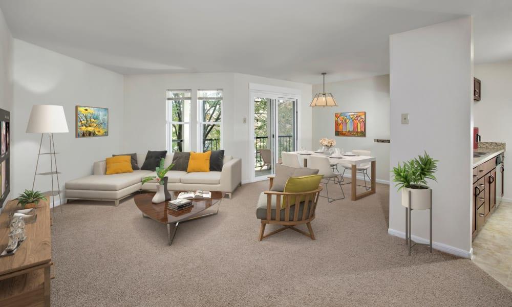 Spacious living room at Monsenor Romero Apartments in Washington, District of Columbia