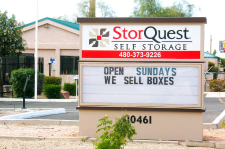 Front signage at StorQuest Self Storage in Apache Junction, AZ