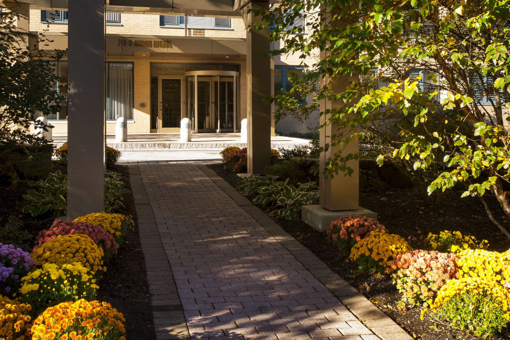 Flowers next to walkway leading up the entrance at Parkside Place in Cambridge, Massachusetts