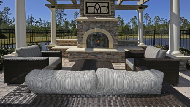 Outdoor fireplace at Integra Woods in Palm Coast