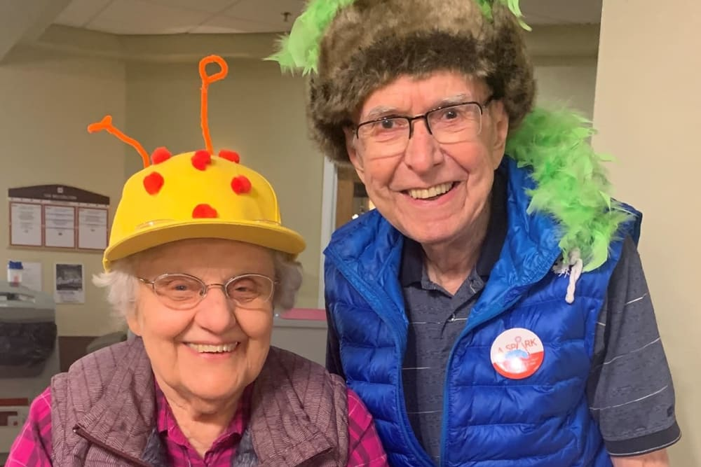 Two residents dressed up for an event at The Wellington in Minot, North Dakota
