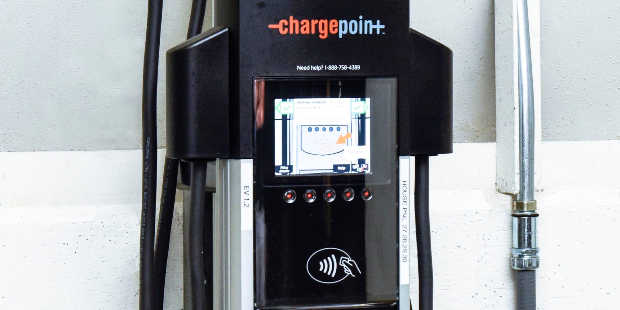 Electric vehicle charging stations at The Villa at Marina Harbor in Marina del Rey, California