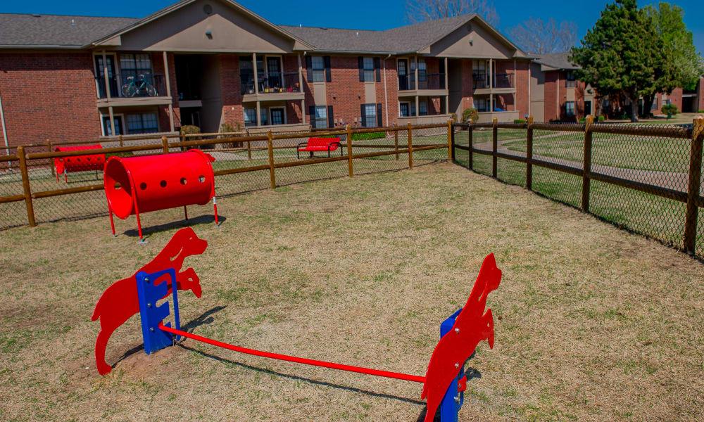 Dog park at Waters Edge in Oklahoma City, Oklahoma