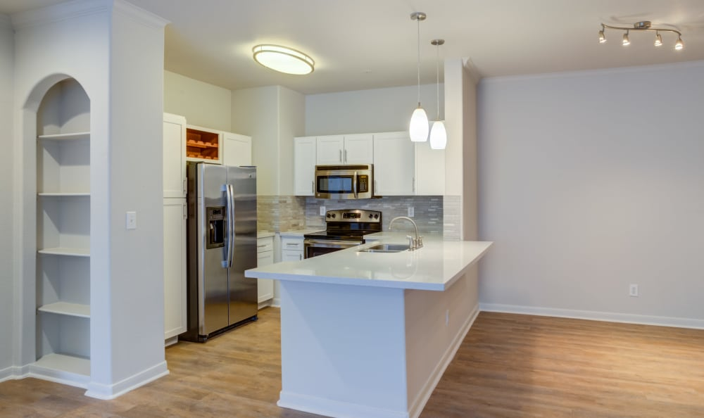 Beautiful remodeled modern kitchen at San Paloma Apartments in Houston, Texas
