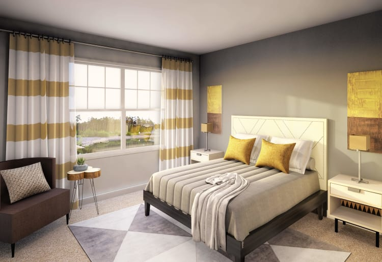 Cozy bedroom at Ellison Heights Apartments