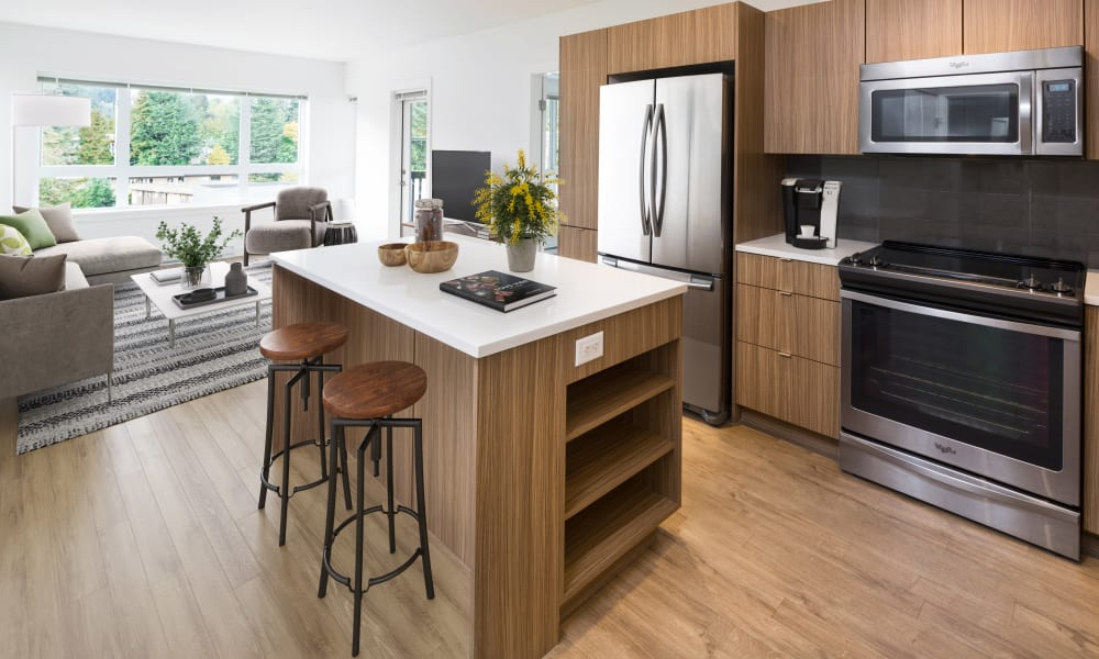 Kitchen with ample cabinetry at Northwoods Village in North Vancouver, British Columbia