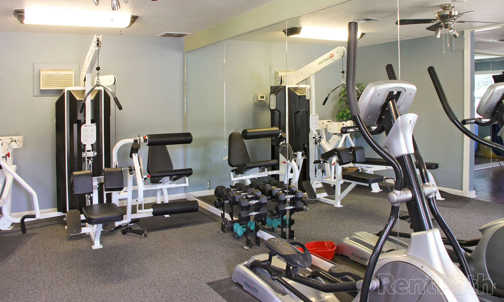 Modern fitness center at Mountain View Apartments in Bozeman, Montana