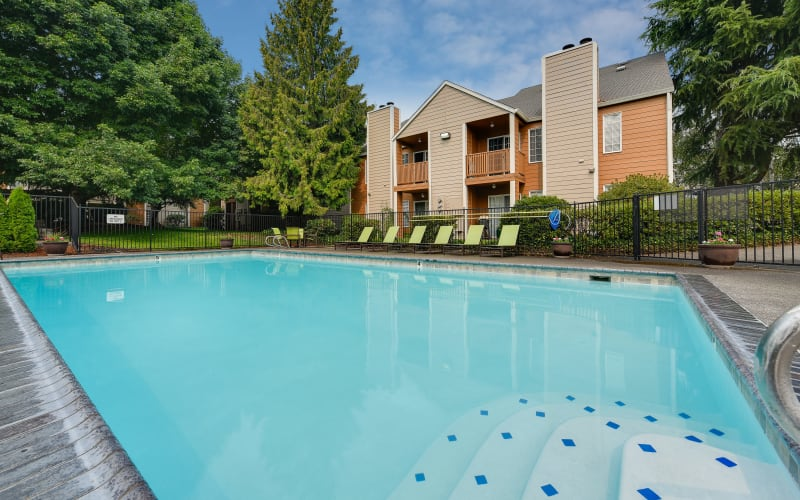 The large blue pool at Carriage House Apartments in Vancouver, Washington