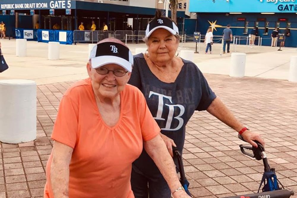 Two residents enjoying an outing from Bayside Terrace in Pinellas Park, Florida