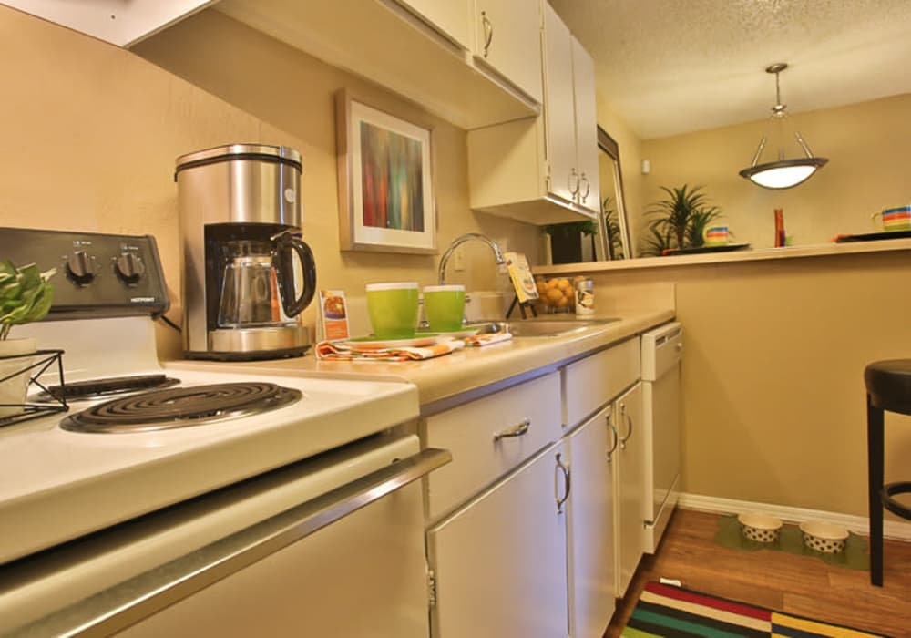 Model kitchen at Willowick Apartments in College Station, Texas