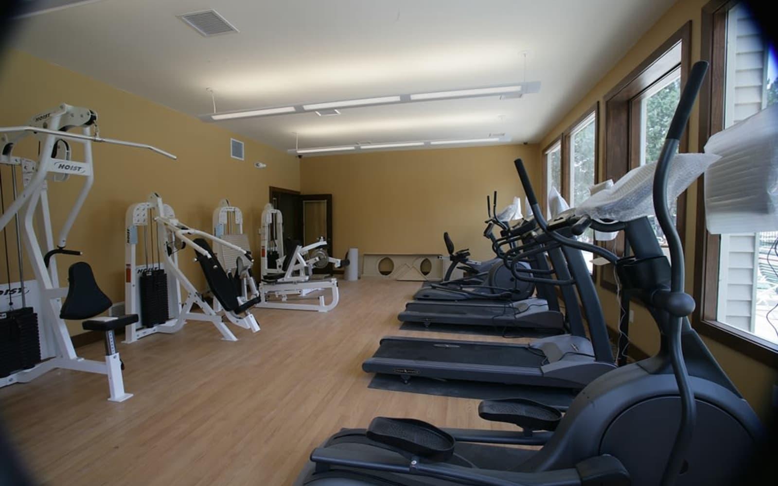 On-site fitness center at Fairmont Park Apartments in Farmington Hills, Michigan
