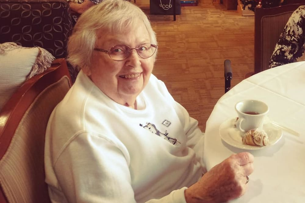 A resident enjoying tea at Brentwood at Elkhart in Elkhart, Indiana