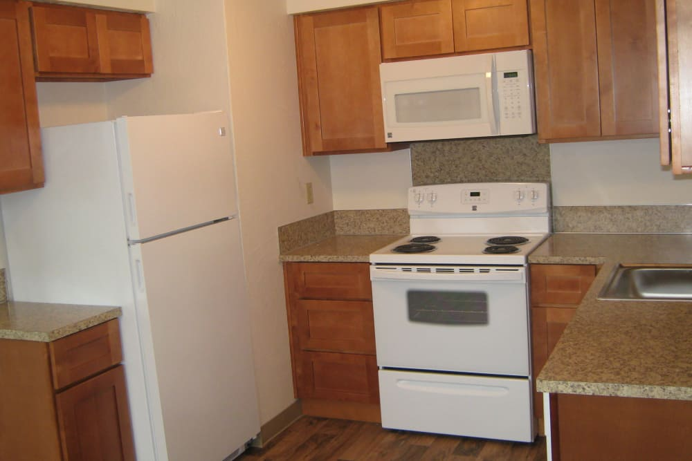 Kitchen at apartments in Springfield, Oregon