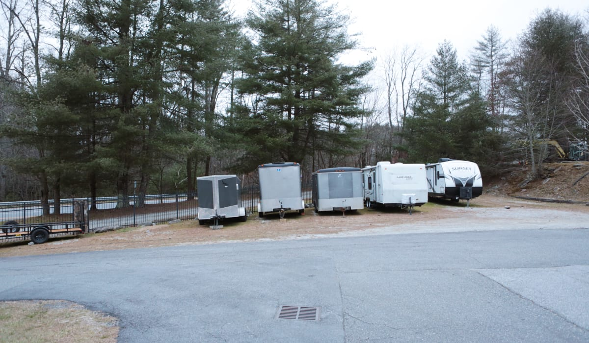 Trailer parking at Midgard Self Storage in Cashiers, North Carolina