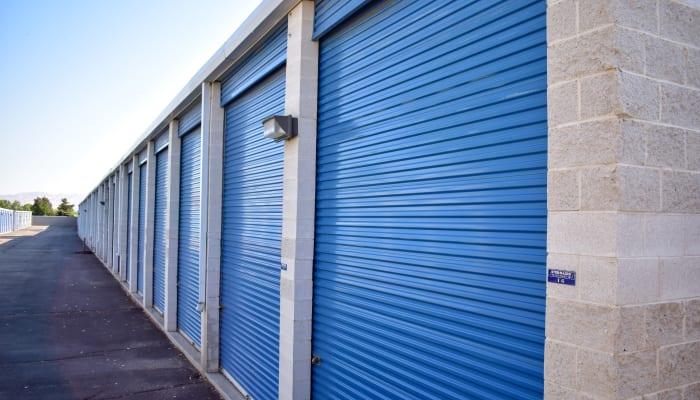 Units with blue doors at STOR-N-LOCK Self Storage in Cottonwood Heights, Utah